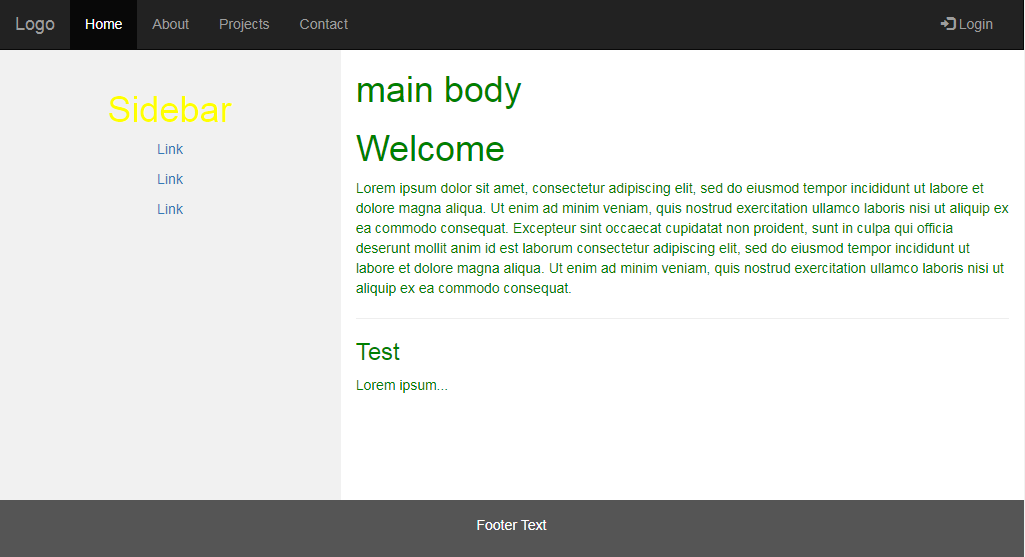 Normal html template